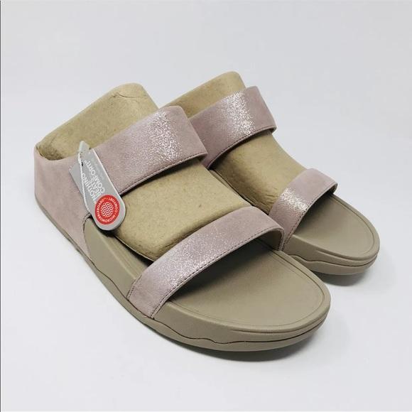 f510f2a89352 FitFlop Lulu Shimmer Suede Slide Sandal 11B(M)